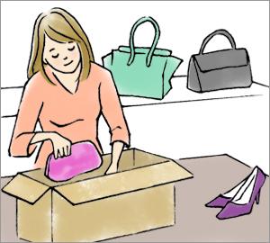 お客様のもとにキャンセルされた商品が届きます。