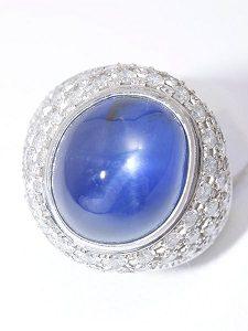 スターサファイア ダイヤモンドリング Pt900
